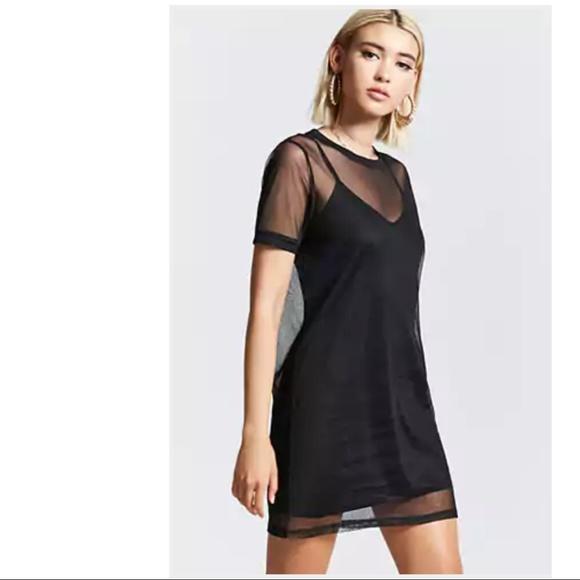 7b6d144a6f6 Forever 21 Dresses   Sheer Mesh Tshirt Dress   Poshmark